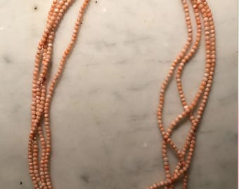 Vintage Coral Beaded Necklace with Gold Clasp