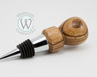 Wine Bottle Stopper with Zebrawood