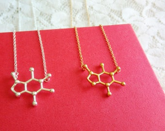 Caffeine molecule necklace, Minimalist science jewelry, Silver molecule necklace, Caffeine molecule jewelry, Cute Molecule Necklace