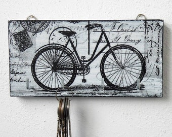 Wall key holder - a bike/bicycle wall decor/ small/white key holder/key holder for wall/key rack/key organizer wall/key hanger/rustic/wood