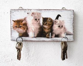 Key holder for wall, rustic key holder, key hook, key organizer, key holder, wall key organizer, key holder wood, kittens wall decor