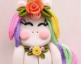 Unicorn Polymer Clay Center Kawaii Whimsy MADE TO ORDER