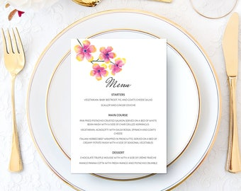 Wedding Menu Printable | Custom | Bespoke | Flowers | Floral | Blossoms | Watercolor | Engagement Party | Wedding Stationery | Event Dinner