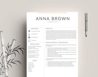 Modern Resume Template / CV Template for Word, Cover Letter, 2 Page Resume, Teacher Resume, Professional Resume, Clean,  INSTANT DOWNLOAD
