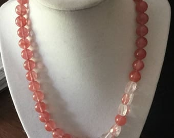 Ruby Jade and Pink Quartz Necklace