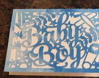 Handcrafted Baby Boy baby shower card
