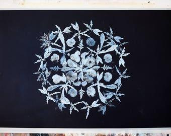 poppy flowers linocut print