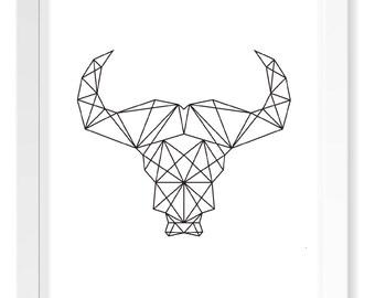 Monochrome Geometric Buffalo Head Print / Scandinavian Cutout Print / Minimal Poster Art / Nordic Art Designs / Geometric Animal Silhouette