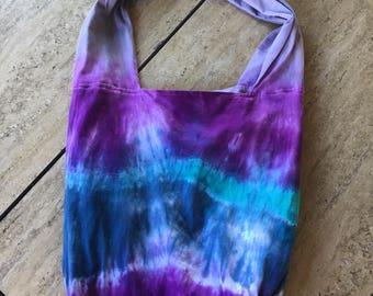 Tie Dye Boho Bag Purple Blue