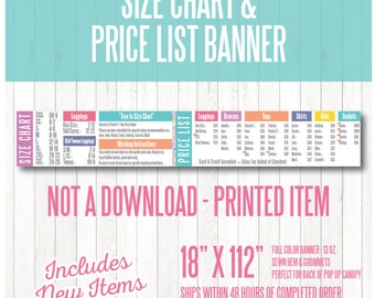 LuLa Price List & Size Chart Banner - Includes New Items