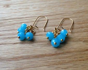 Opaque Aqua Blue Crystal Glass Earrings  - Dangle Earrings