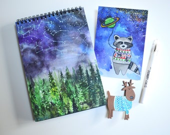 Holiday gift set bullet journal travel notebook winter gift set art postcard set blue watercolor print set pin deer hippie gift set