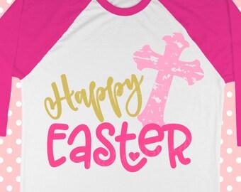 Happy Easter SVG - Svg files - Easter svg - Distressed cross svg - Bunny svg - Christian svg - cut file - Girls SVG, png, pdf, DXF, eps