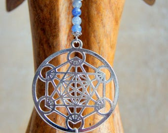 Merkaba symbol chain necklace and sodalite beads