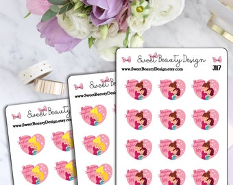 Mom and Daughter Time Planning Sticker, Mommy Planner Sticker, Heart Stickers, Mommy Daughter Sticker,Scrapbook Sticker, Planner Accessories