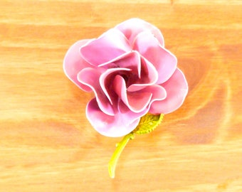 Vintage enamel flower brooch - pink rose
