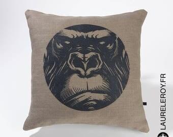 Pattern Gorilla, light khaki linen Cushion cover