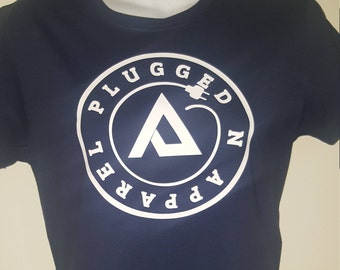 PLUGGED N T-SHIRT w/cord rapped around letter A