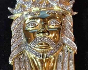 "14k Gold Finish .925 Silver 2.3ct Simulated Diamond Jesus Piece Pendant 1""x2"""