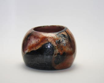 Pit fired saggar pottery vessel