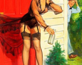 Oops, vintage poster funny humorous pinup Robert Skemp canvas print