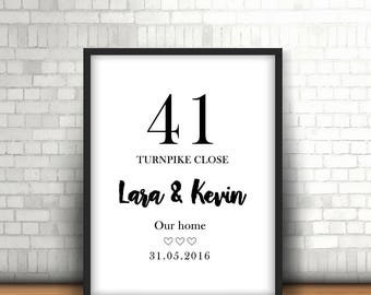 Personalised Home Present, Street Name, Moving In Gift, First Home Print