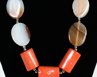 Agate/Coral Necklace (DF0013/BN)