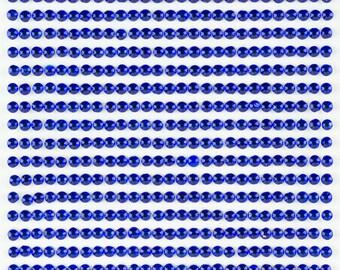 3 Sheets - Royal Blue 3mm Adhesive Rhinestone Dot Sticker