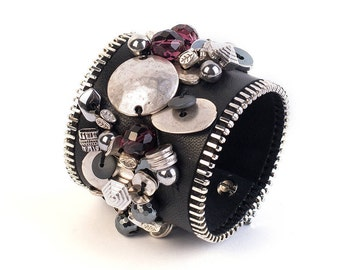 Amethyst bracelet, Women leather cuff, Women cuff bracelet, Amethyst cuff, Summer bracelet, Summer cuff, Leather wrist cuff, Gift for her