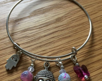 Peace  bangle with Swarovski crystals