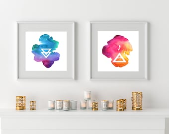 Watercolor Printables Set, wall art, printable art, instant download, Geo Wall Art, dorm decor, bohemian wall decor, boho housewarming gift