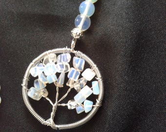 Tree of life milk glass necklace