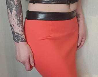 Orange and black two piece pencil skirt and matching crop top. UK size 8-10