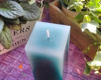 Faded Sea Foam Square Pillar Candle