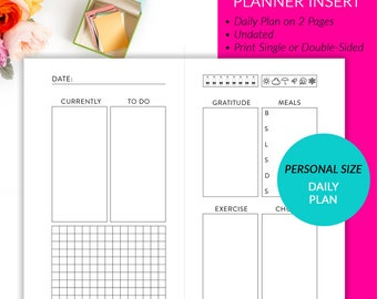Personal Planner Insert - Daily Plan 2 Pages Printable