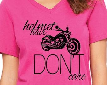 Motorcycle Shirt - Biker Shirt - Helmet Hair Don't Care - Hair Don't Care - Women's Motorcycle Shirt - Women's Biker Shirt