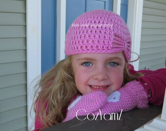 MITTENS!  Pink with white flower mittens, Elementary Child Size  handmade crochet mittens, winter mittens