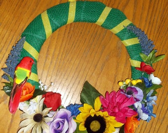 Fabric & Ribbon Wreath with Flowers