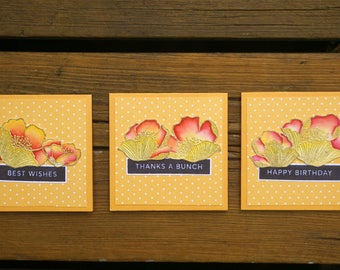 Note Cards, Handmade Greeting Card, Note Cards Set, Mini Cards, Mini Cards Set of 3, Floral Notecards, Floral mini cards, All Occasion Cards