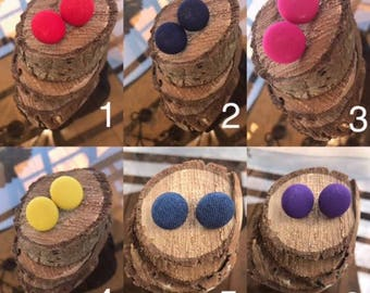 Solid Color Fabric Button Earrings