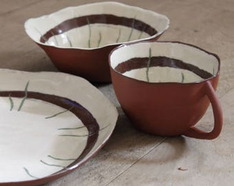 Crockeryset Red Pottery Pottery