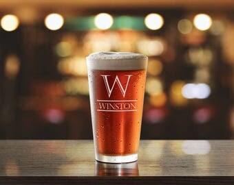 Personalized Beer Glass, Groomsman Gift, Custom Pint Glass, Mens Gift, Personalized Beer Mug, Groomsmen Gift, Best Man Gift, PTPG004