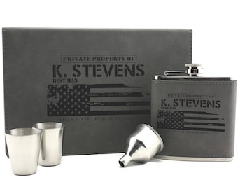 Personalized Flask Set, Hip Flask, Groomsmen Gift, Groomsman Gifts, Engraved Flask, Gift For Him, 21st Birthday Gift, PTFS002