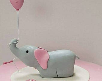 Elephant cake topper and age on ballon, 10 flowers included, fondant elephant, baby's first birthday, edible elephant, custom cake topper