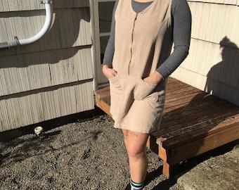Vtg Corduroy Mini Dress