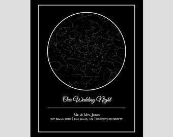 CUSTOM STAR MAP- large  - digital print   - Anniversary/Wedding - Birthdays - Special Occasions - Beautiful Gift