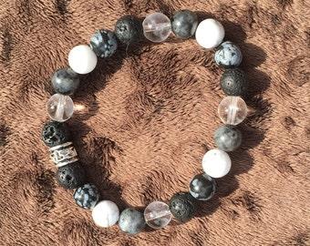 Crystal Bracelet - Clear Quartz, Snowflake Obsidian, Howlite, Labradorite