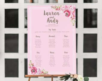Rustic floral wedding table plan, floral wedding seating chart, wedding seating plan, pink wedding table plan, large table plan printed