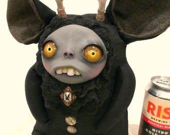 House of Ziggy -  jackalope art doll handmade cute creepy goth monster sculpey polymer clay kawaii rag doll unique ooak stuffed animal