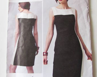 Woman's Fitted Lined Dress, Sleeveless. Kay Unger Vogue V1329 - Uncut